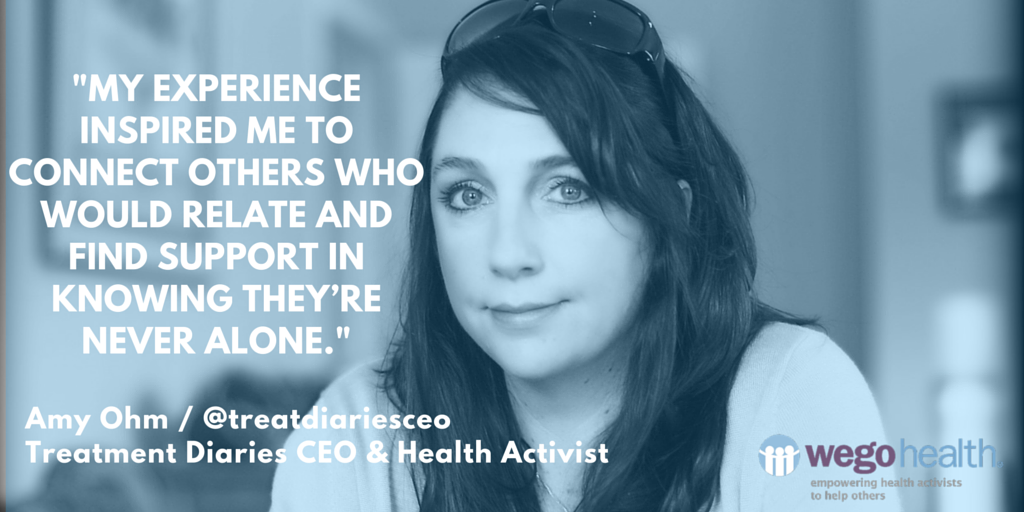 """Amy Ohm, Treatment Diaries CEO & Health Activist _ WEGO Health Feature Friday Patient Influencer """"_My experience inspired me to connect others who would relate and find support in knowing they're never alone._ we-1.png"""